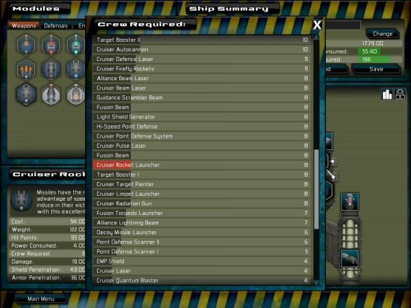 gratuitous space battles ship design screen